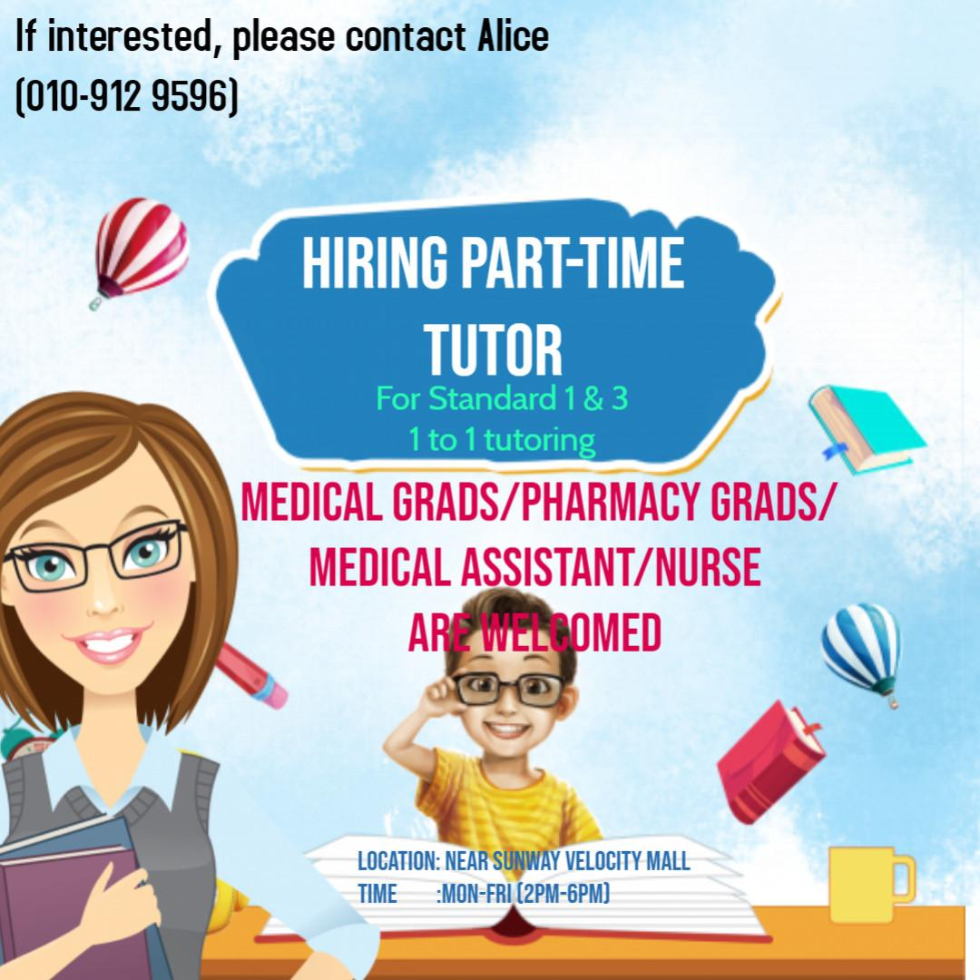 Part-Time Tutor needed for Primary 1 & 3