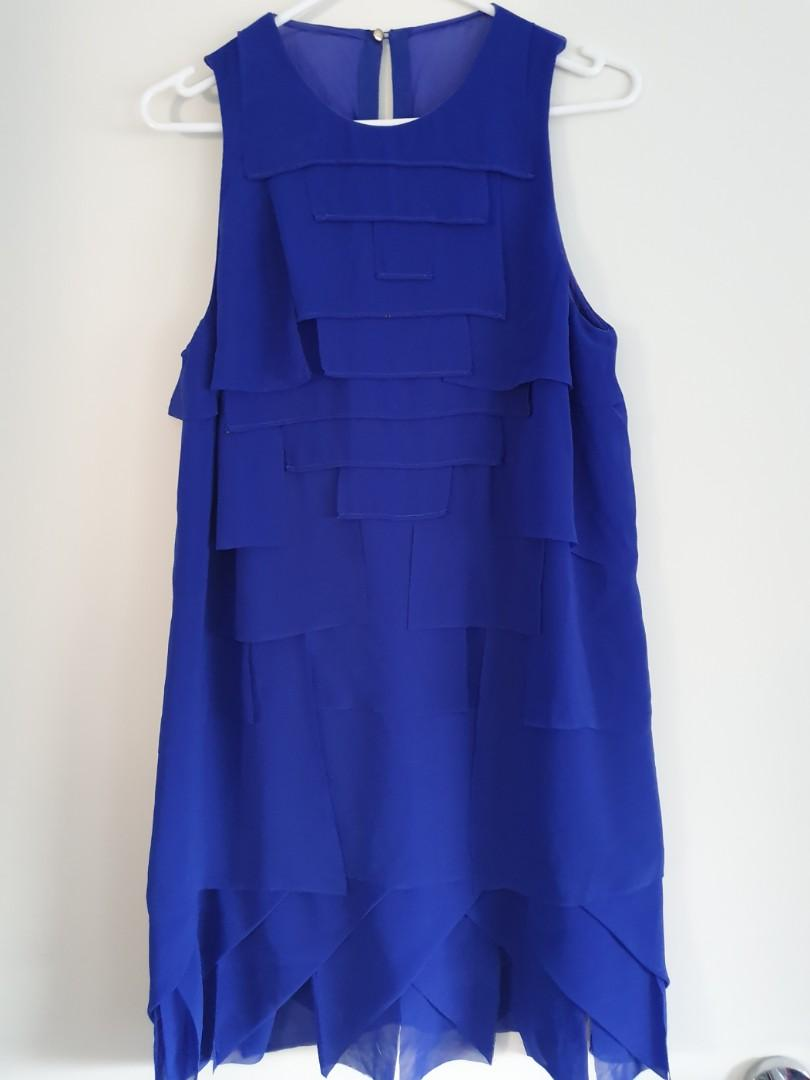 Willow by Kit Willow electric blue midi dress with geometric applique