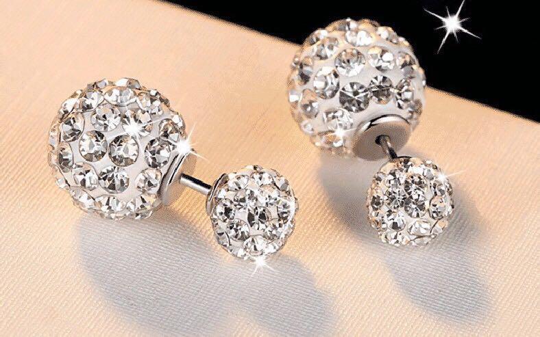 078efdcf7 S925 Silver Duo Ball Swarovski Crystal Stud Earring, Women's Fashion ...