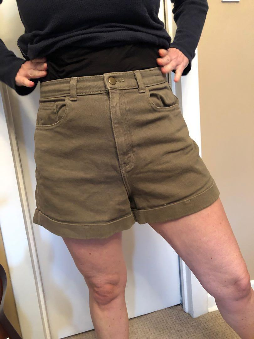 STRETCHY Army green American Apparel high waisted shorts