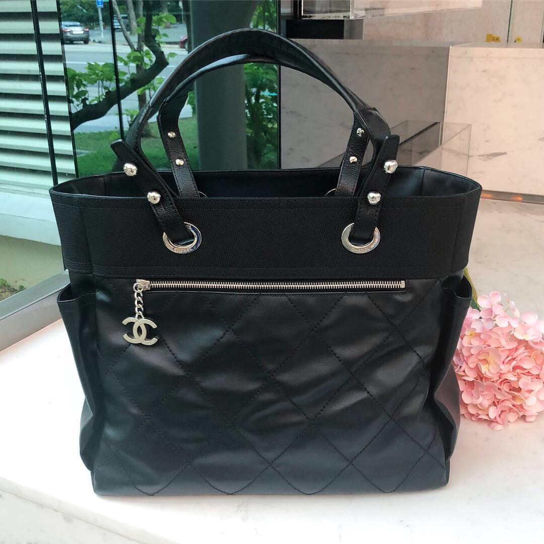 60bc5f41ffac 💕Superb Deal!💕 Chanel Large Biarritz Tote in Black Canvas SHW ...