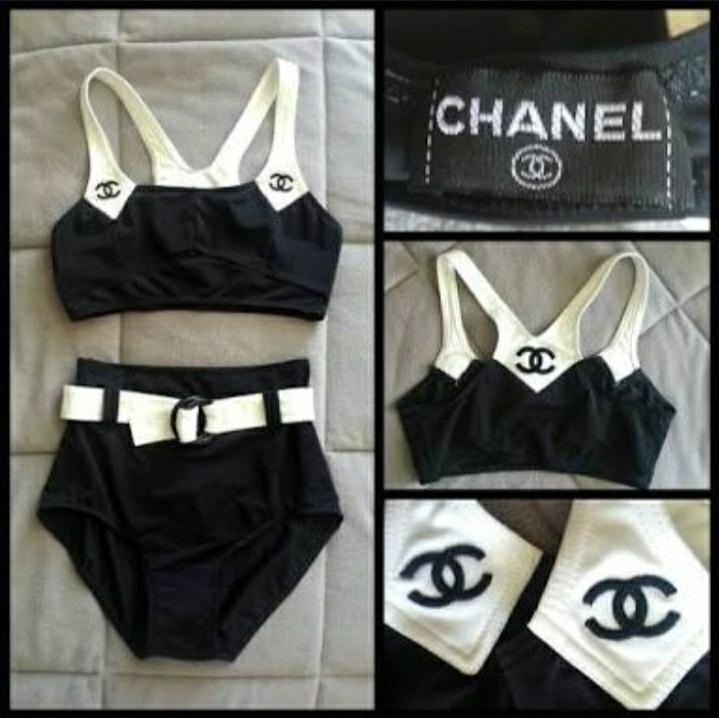 859e1f326390f6 ✓️Vintage Coco Chanel highwaist swimsuit on Carousell