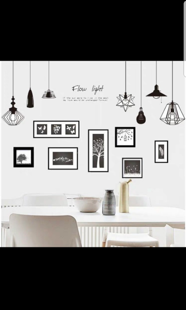 2 In 1 Large Size Creative Chandelier Wall Sticker Living Room