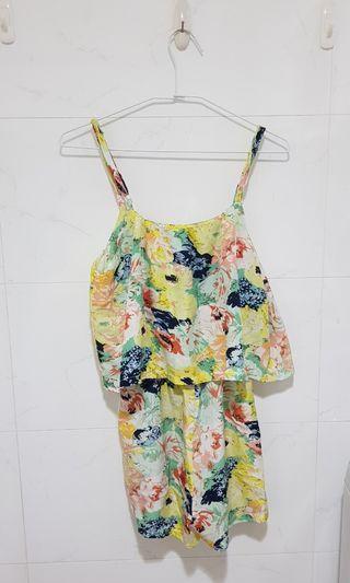 🚚 鵝黃色印花連身褲子洋裝