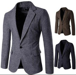 Blazer suit men grey black brown korean style
