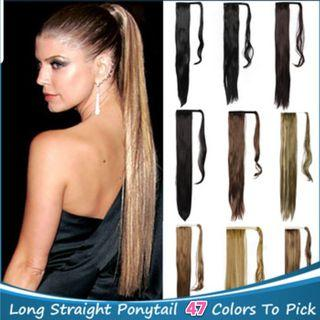 Straight Hair Extensions Long Ponytail Wrap Around