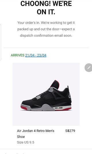 73624049e79f WTS Nike Air Jordan 4 Bred