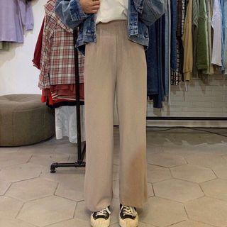 直壓紋鬆緊針織落地長褲寬褲 卡其色可可色咖啡色