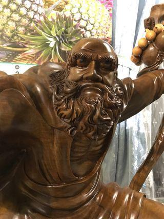 🚚 黃檜 達摩祖師木雕藝術品 收藏品 黃臘檜