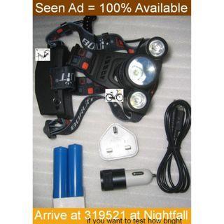 very bright headlamp Boruit RJ-5001 . for fishing, caving, forest foraging . Dislike for biking