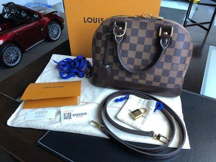 100% Authentic Louis Vuitton Alma BB Damier Ebene