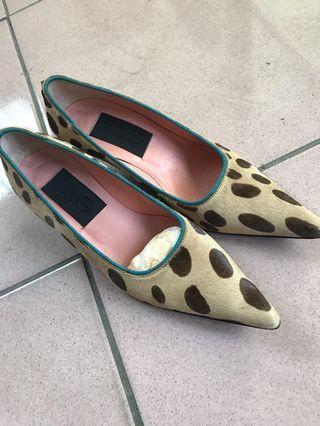 D&G女低跟牛皮毛鞋