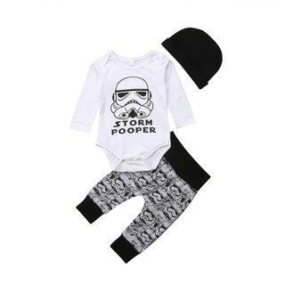 Baby Romper Newborn Boys Star Wars Stormtrooper Tops Romper Pants Hat