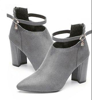 BN Grey Ankle Boot Heels