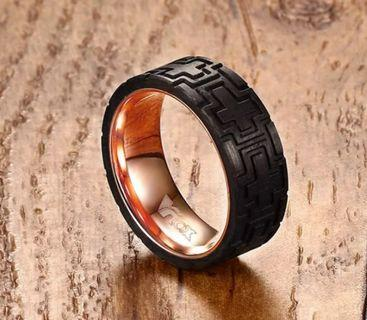 Men's Ring Stainless Steel Carved Forged Carbon Fiber Rose Gold and Silver Color