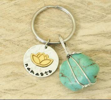 Yoga Namaste Keychain with Real Mineral Stones for Good Energy and Health