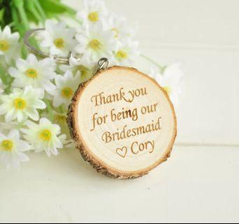 Custom Words Keychain Engraved Wooden   Best Personalized Gift Wedding Souvenir