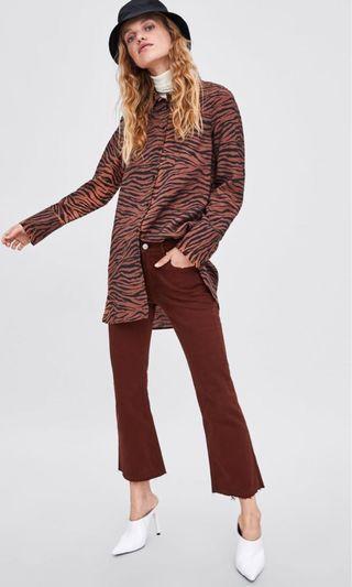 Zara cropped flared jeans