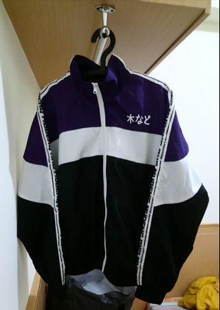 🚚 古著 黑紫配色 側邊字母 長袖外套 風衣外套 教練外套 防風