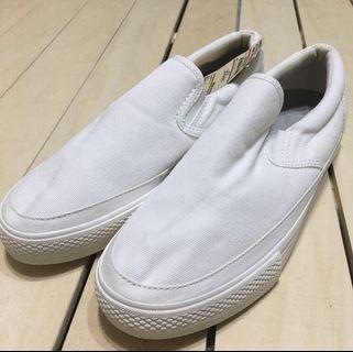 無印良品 MUJI 懶人鞋 休閒鞋 撥水加工 柔白