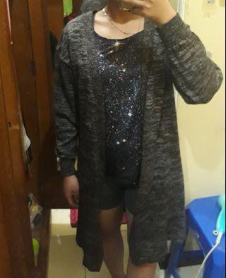 Cardigan panjang / knitwear / cardigan rajut hitam abu