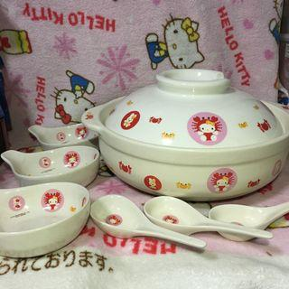 Hello Kitty 28.5cm Extra Large Claypot With 3pcs Bowl & Spoon
