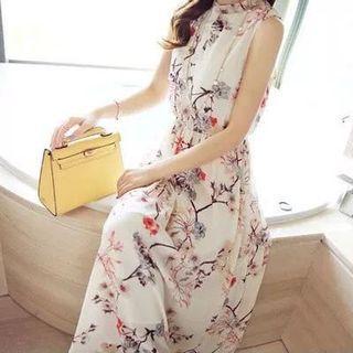 🚚 日本購雪紡連衣裙洋裝碎花波希米亞風連身裙背心裙海邊度假