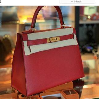 Hermes Kelly 28 Sellier in Rouge Casaque