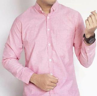Kemeja slim fit soft pink