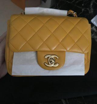 🚚 🔥FIREDEAL!🔥Chanel Classic Mini Square Lambskin Yellow Jaune Ghw #19