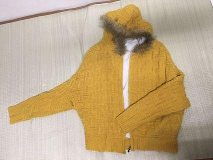 🚚 黃色鋪棉編織外套