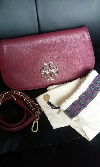 Tory Burch Britten Shiraz Red Leather Flap Clutch Crossbody Bag