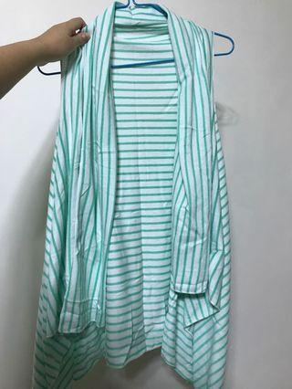 直間上衣 綠白色 背心 green white strip vest outer