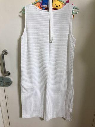 白色 背心 長身裙 white one piece
