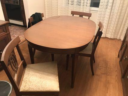 Wooden dining table + chairs