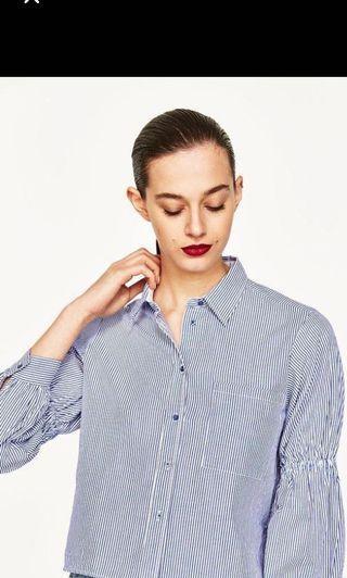 Zara Denim Stripes Navy Blue/ White