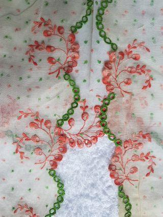 100% made in Sg! Rare! Only 1 of its kind.  Authentic Vintage Nonya Kebaya Top made of unique textured sheer white voile  with pale green and red pokka dots and embellished with embroidered sprigs of pale red little flowers and unique green trimmings.