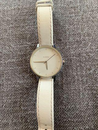 Nixon silver and white leather watch
