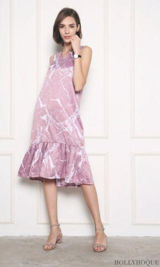 🚚 Hollyhoque Arova Marble Midi Dress in Pink