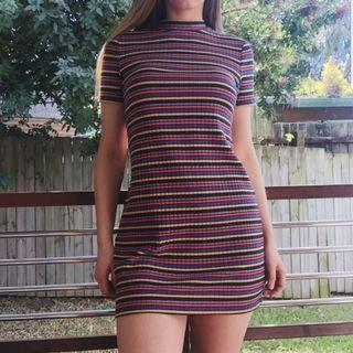 Sportsgirl retro stripe multi colour high neck dress