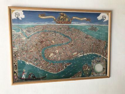 🚚 Framed Poster - Map of Venice