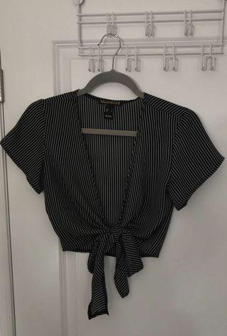 stripped knot up crop top