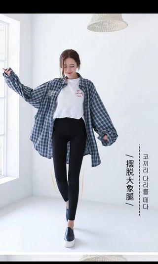 可換物 兩扣韓版超彈力黑褲M號