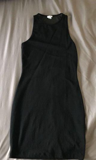 black bodycon dress with mesh back