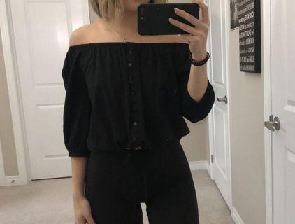 black off the shoulder button up top