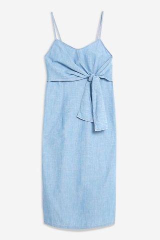 Topshop denim tie front midi dress
