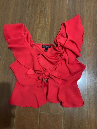 Topshop red tie top