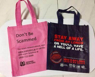 BN Singapore Police Force Tote Bag Recycle Bag Navy Blue Pink (free postage)