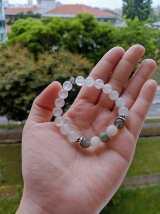🚚 Clear quartz with indian agate bracelet
