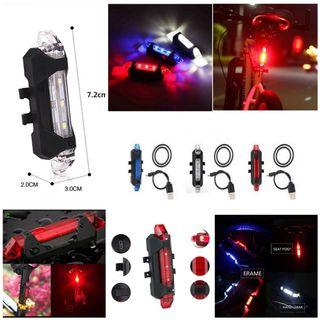 🆕Bicycle bike USB ☑️Rechargeable LED strobe light E.scooter PMD ☑️waterproof night Light Flashing Front Head or Back Rear Flashlight 4-Modes (stable, slow strobe ,flashing/fast strobe) with charging cable. Choice; Red, White, Blue. BNIP 脚踏车自行车可充电光二极管红白蓝灯
